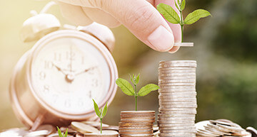 Stacked coins growing seedlings - Business Insurance